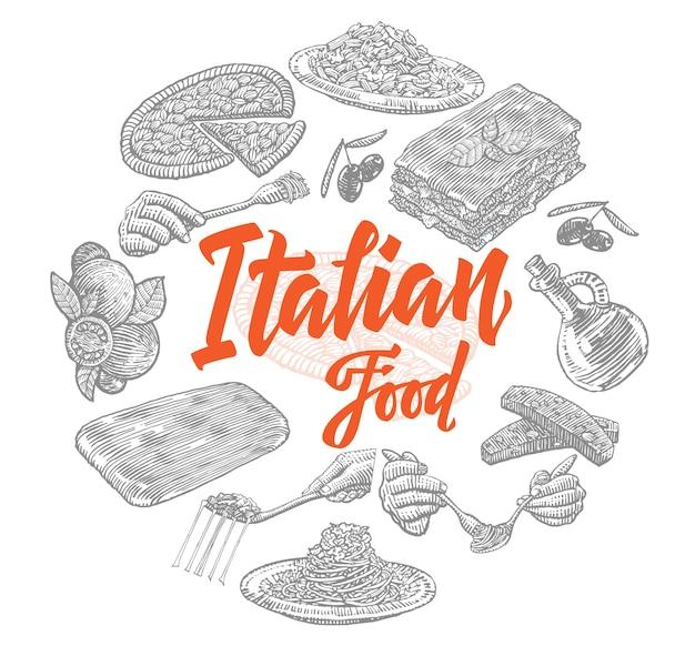 Sketch italian food elements composition Free Vector