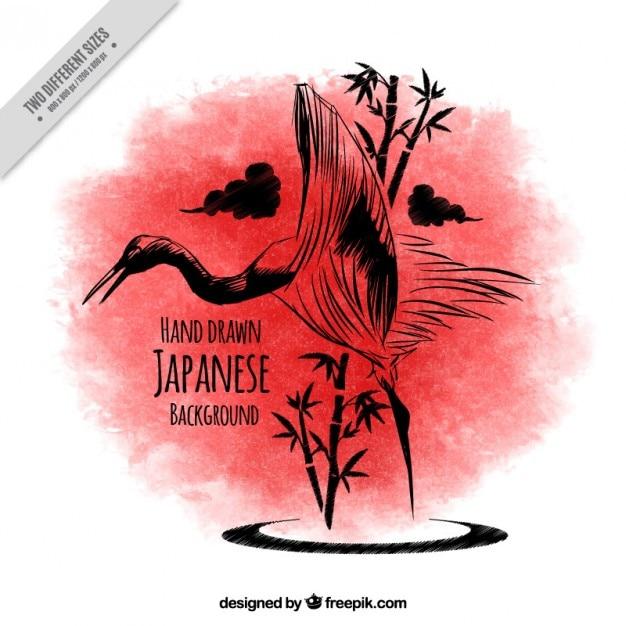 طرح زمينه پرنده ژاپنی