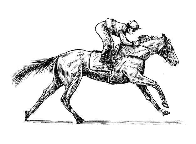 Sketch of jockey hand draw Premium Vector