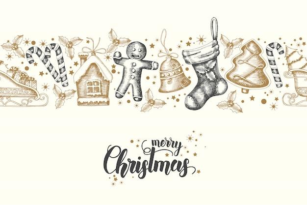 手でシームレスなトレンディなパターンには、ゴールデンブラッククリスマスオブジェクトメリークリスマスと新年あけましておめでとうございますが描画されます。 sketch.lettering.backgroundは、壁紙、ウェブ、バナー、テキスタイル、 Premiumベクター