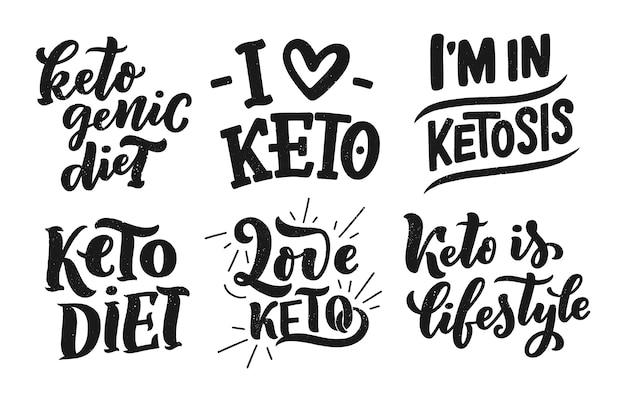 Эскиз надписи для кето диеты, каракули стиль концепции. Premium векторы