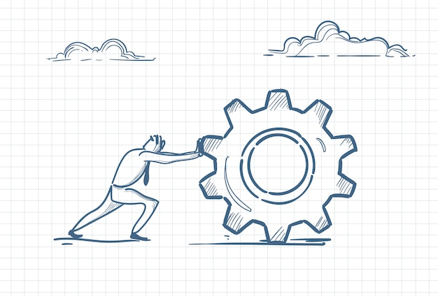 Sketch of a man pushing a gear Premium Vector