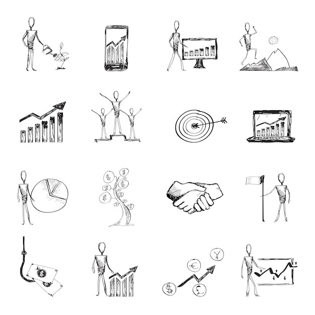 Sketch management process icons Free Vector