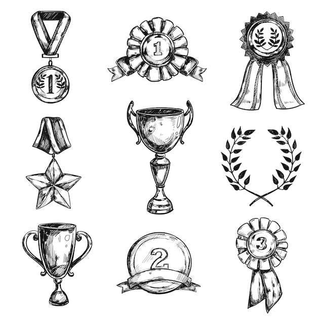 스케치 메달 디자인 아이콘 세트 무료 벡터