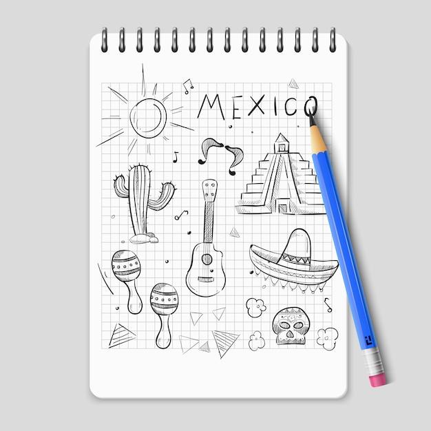 Sketch mexican symbols set Premium Vector
