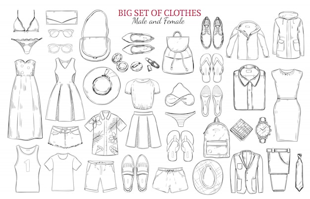 Sketch monochrome clothes icons set Free Vector