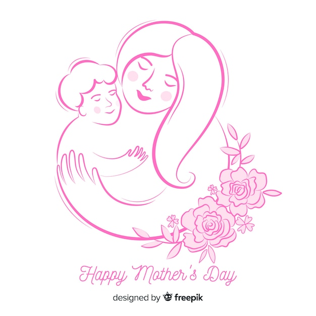 Sketch mother's day background Free Vector