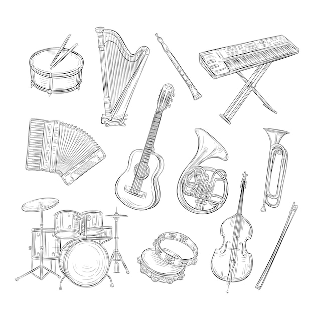 Sketch musical instruments. drum harp flute synthesizer accordion guitar trumpet cello. music vintage outline hand drawn  set Premium Vector