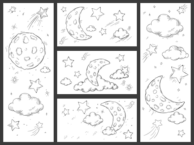 Sketch night sky with moon Premium Vector