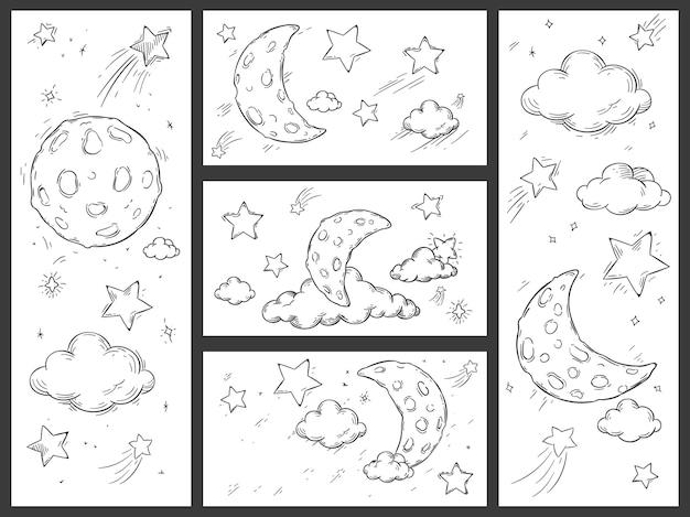 달과 함께 밤하늘 스케치 프리미엄 벡터