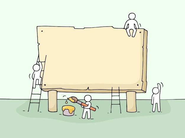Эскиз пустой доски с работающих маленьких людей. Premium векторы