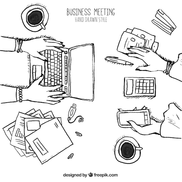 Sketch of business meeting with laptop and\ mobile