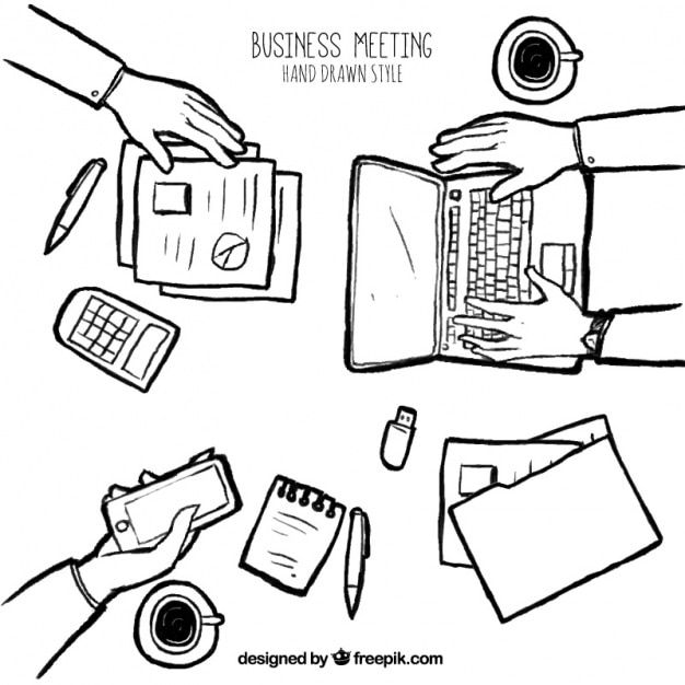 Sketch of business meeting