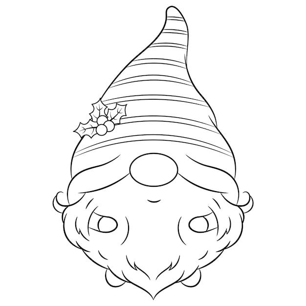 長い帽子で描くクリスマスかわいいノームのスケッチ Premiumベクター
