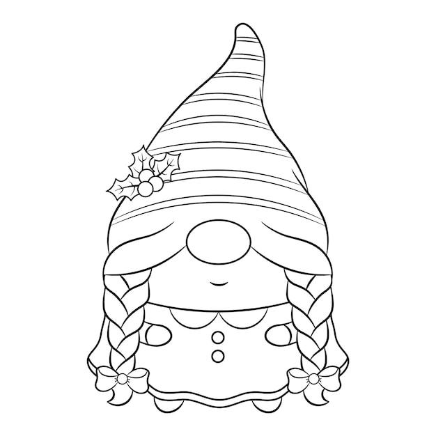長い赤いベリーの帽子とフレームで描くかわいいクリスマスの女性のノームのスケッチ Premiumベクター