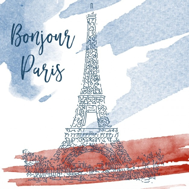 sketch of eiffel tower on a watercolor background vector