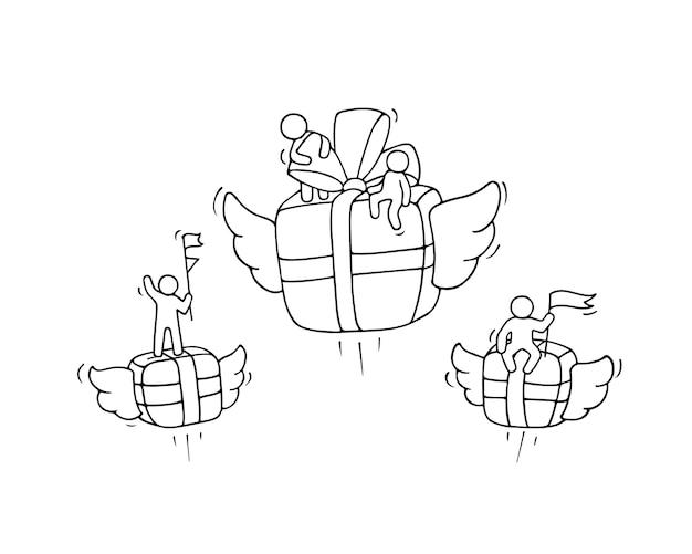 Эскиз летающей подарочной коробки с маленькими рабочими. Premium векторы