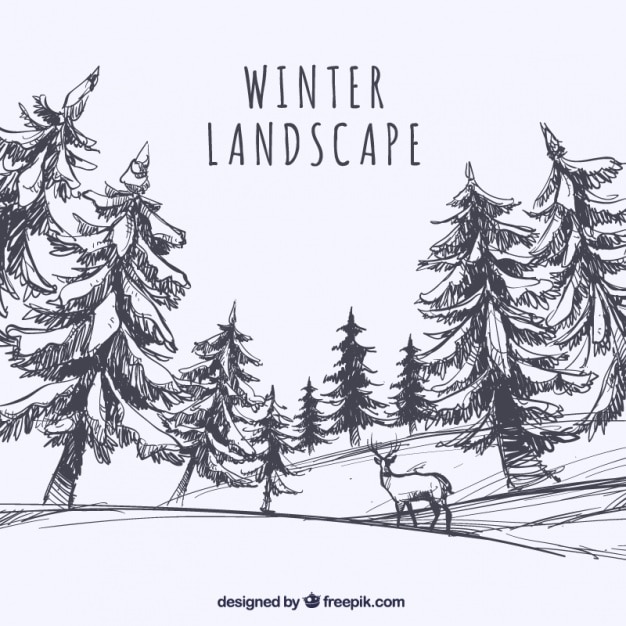 sketch of landscape with trees and deer vector free download