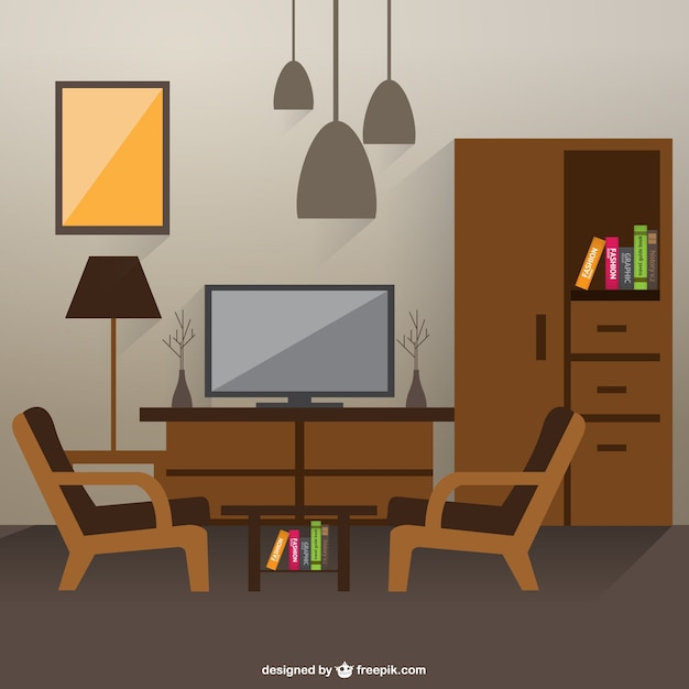 Sketch of living room interior vector free download for Online drawing room