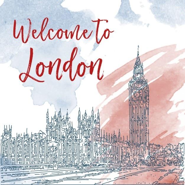 ロンドン水彩画の背景手描きインクラインスケッチ 無料ベクター