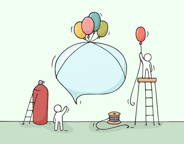 Эскиз речи пузырь с работающих маленьких людей. Premium векторы