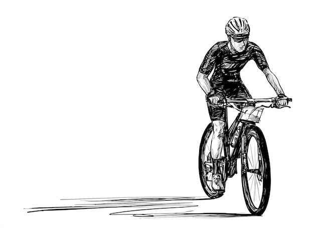 Эскиз рисования руки соревнований на горных велосипедах Premium векторы