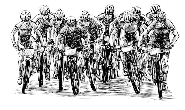 Эскиз соревнований по горным велосипедам показать руку рисовать Premium векторы