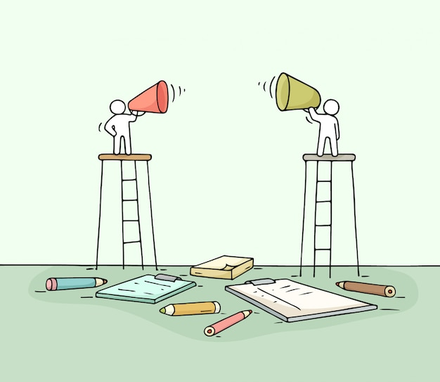 Эскиз двух ораторов. Premium векторы