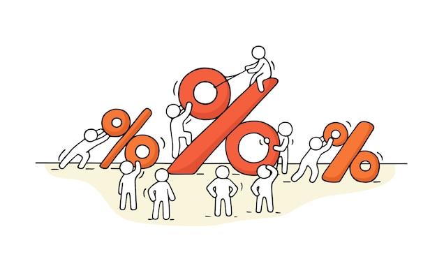 Эскиз рабочих человечков с большими знаками процентов. Premium векторы