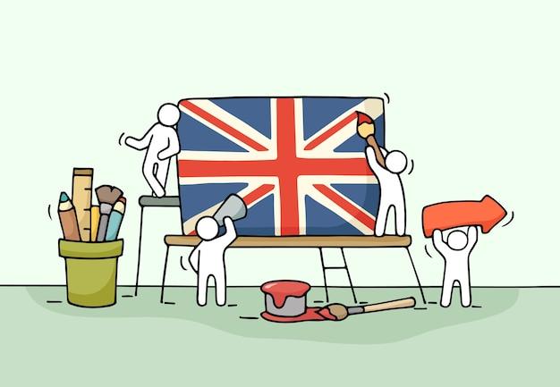 英国の旗を持つ小さな労働者のスケッチ。ユニオンジャックで労働者のかわいいミニチュアシーンを落書き。デザインとインフォグラフィックの手描き漫画イラスト。 Premiumベクター