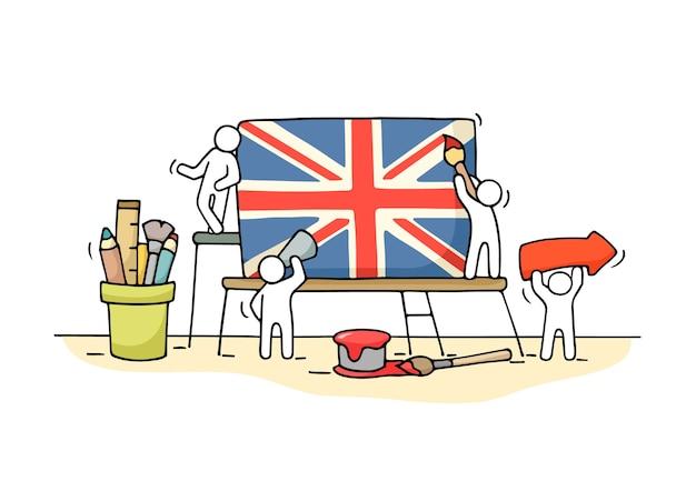 Эскиз рабочих маленьких людей с британским флагом. doodle милая миниатюрная сцена рабочих с юнион джеком. рисованной иллюстрации шаржа для дизайна и инфографики. Premium векторы