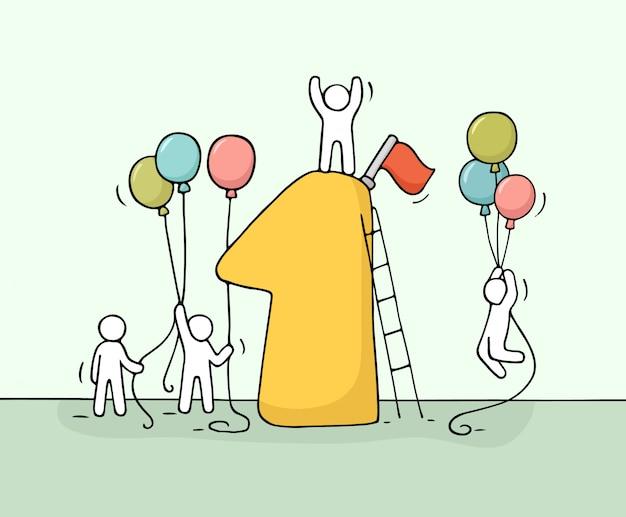 번호 하나, Baloons와 함께 일하는 작은 사람들의 스케치. 프리미엄 벡터
