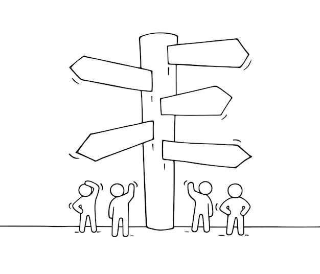 Эскиз рабочих маленьких людей с дорожным знаком. каракули милая миниатюра указателя. рисованной иллюстрации шаржа для бизнес-дизайна и инфографики. Premium векторы