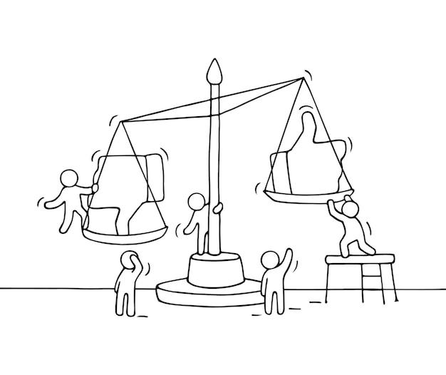 Эскиз рабочих человечков с масштабом. doodle милая миниатюрная сцена, в которой рабочие выбирают между симпатиями и антипатиями. рисованный мультфильм Premium векторы