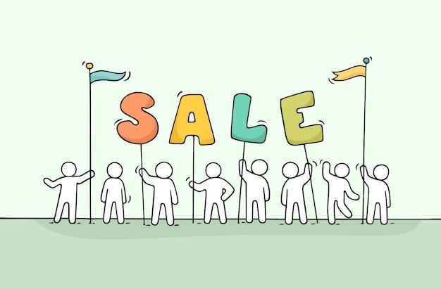 Эскиз рабочих маленьких людей с продажей слова. Premium векторы