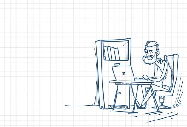Sketch of an office working man Premium Vector