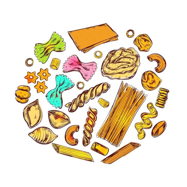Эскиз круглой композиции макарон с различными пищевыми продуктами и разными видами макарон в декоративных иконах Бесплатные векторы