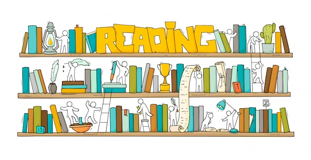Sketch of people teamwork, books Premium Vector