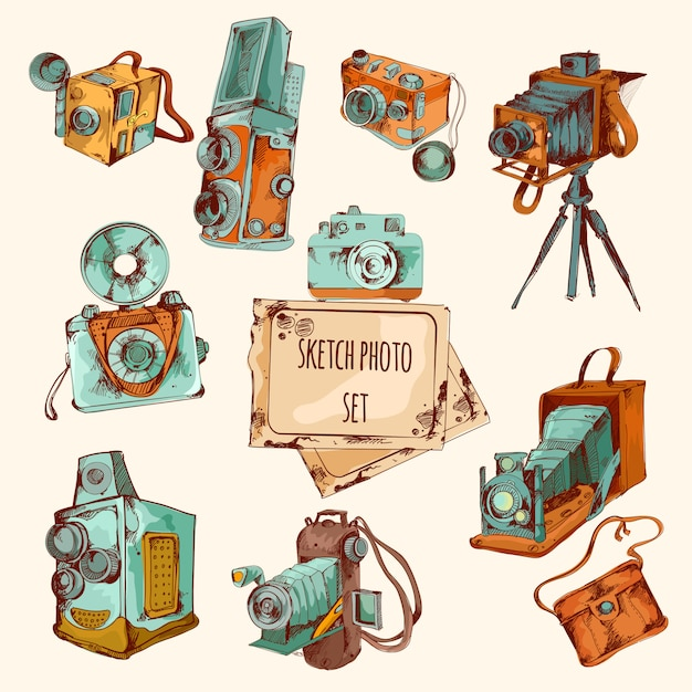 Sketch photo colored set Free Vector