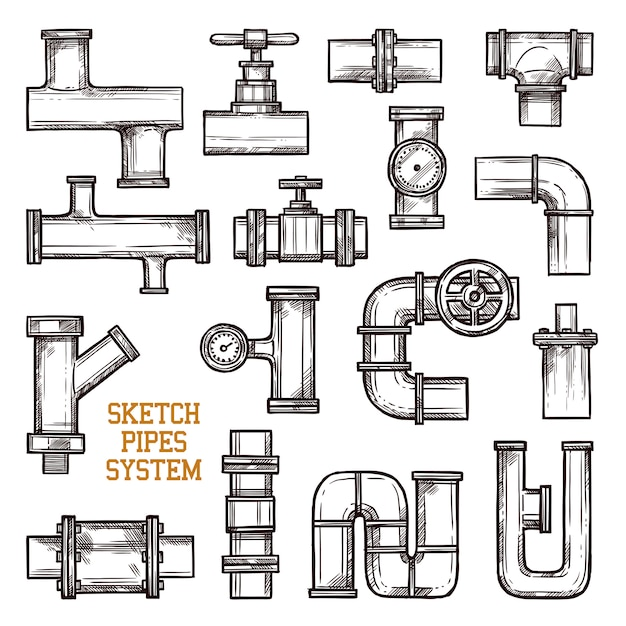 Sketch pipes system Free Vector