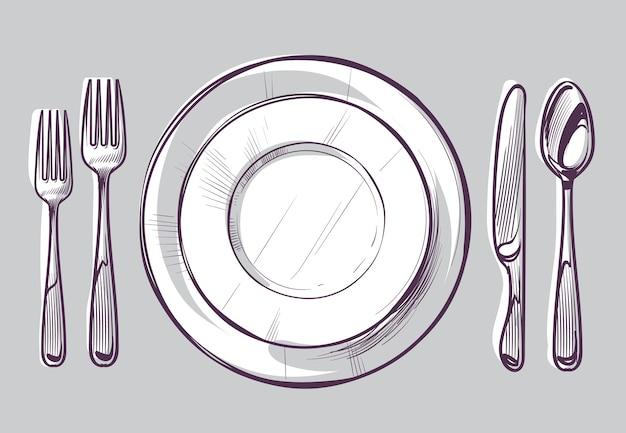 プレートフォークとナイフのスケッチディナーカトラリーとテーブルの上の空の皿 Premiumベクター