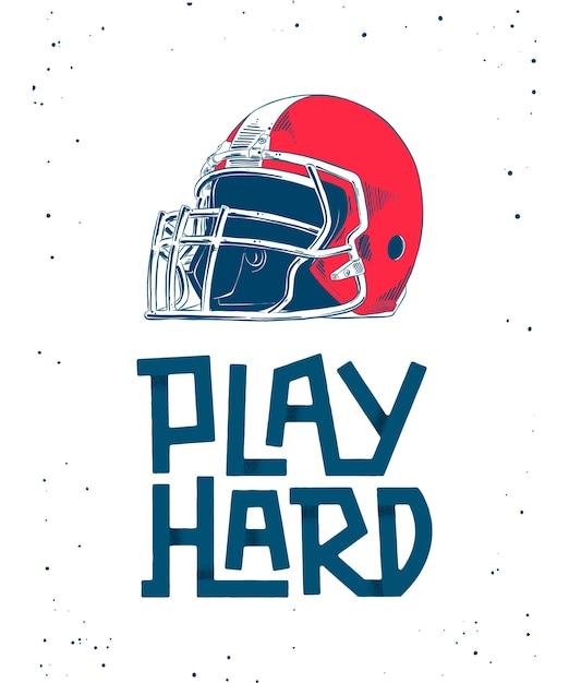 Sketch of red american football helmet, lettering Premium Vector