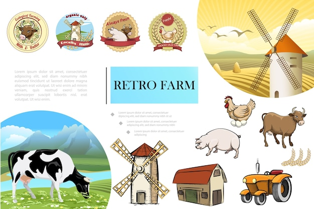 Эскиз композиции ретро фермы Бесплатные векторы