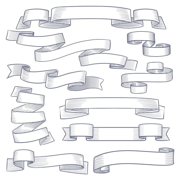 Sketch ribbon collection Premium Vector