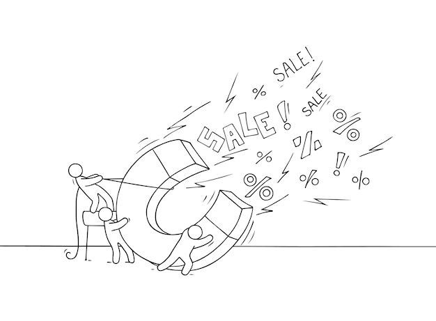 Sketch of sale concept . doodle cute miniature of teamwork and big magnet. Premium Vector