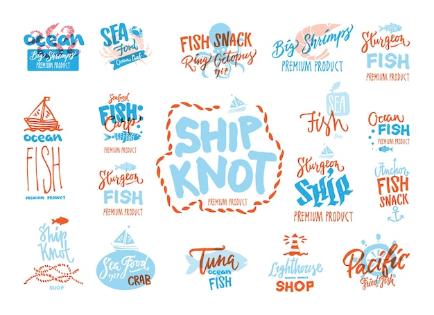 Sketch seafood premium logotypes set with handwritten inscriptions different marine animals Free Vector