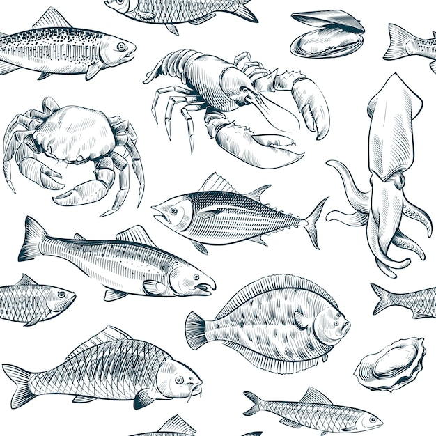 Sketch seafood seamless pattern. oyster salmon lobster shellfish. Premium Vector