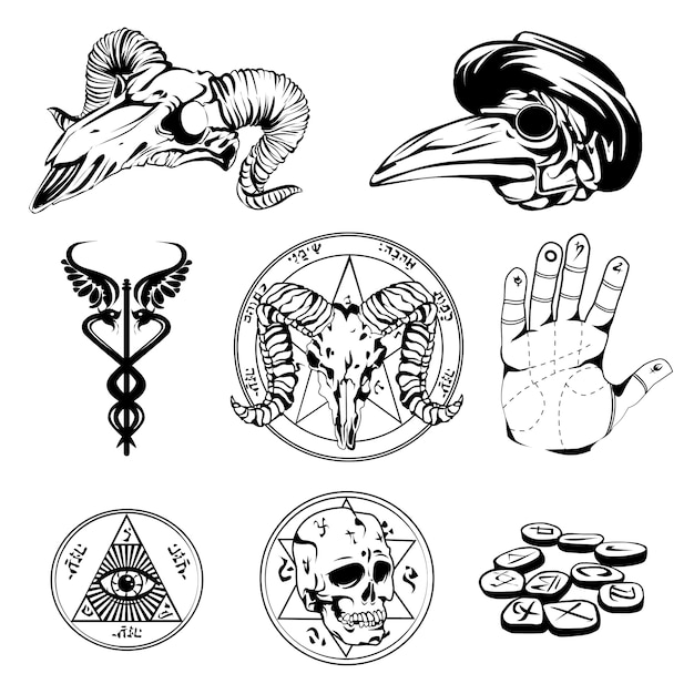 Sketch set of esoteric symbols and occult attributes Free Vector