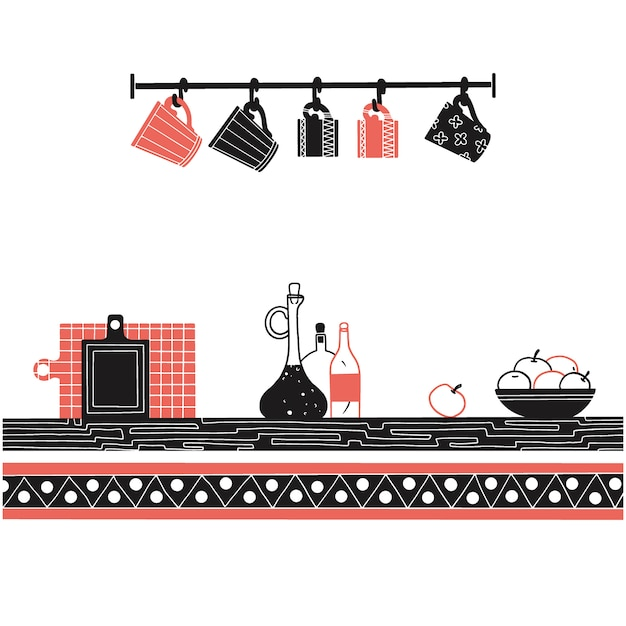 Sketch of shelves with different utensils. vector Premium Vector