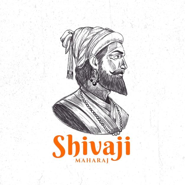 Schizzo dell'illustrazione di shivaji maharaj Vettore gratuito